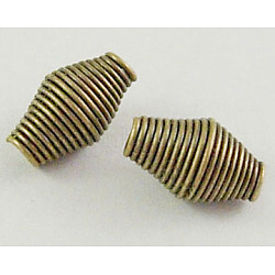 Iron Spring Beads, Coil Beads, Nickel Free, Iron, Antique Bronze Color, 9mmx6mm, hole: 2mm, 2400pcs/1000g(E029Y-NFAB)
