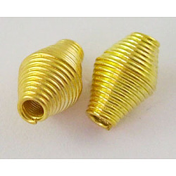 Iron Spring Beads, Coil Beads, Golden Color, 9mmx6mm, hole: 2mm, about 2400pcs/1000g(E029Y-G)