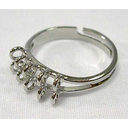 Adjustable Brass Loop Ring Components, Platinum Plated, 17mm(E140)