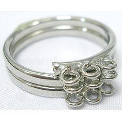 Jarret d'anneau réglable en laiton, platinée, 9 boucles, 17 mm de diamètre intérieur (EC154)