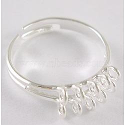 Jarret d'anneau réglable en laiton, de couleur métal argent, plaqué, taille: environ 19mm de diamètre(EC156-S)