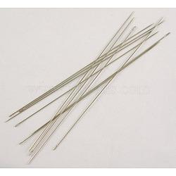 Aiguilles à coudre en fer, Aiguilles, argenterie, épaisseur de 0.45mm, Longueur 80mm, Trou: 0.3mm, environ 30~35 pcs / sachet (E251)