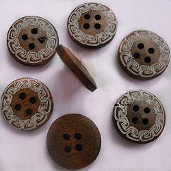 4 trous dos plat boutons ronds, Boutons en bois, coconutbrown, environ 15 mm de diamètre(FNA160L)