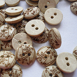Carved 2-hole Basic Sewing Buttonr., Coconut Button, Khaki, about 12mm in diameter, about 100pcs/bag(NNA0YXC)