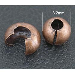 Perles à écraser couvre, sans nickel, cuivre rouge, environ 3.2 mm de diamètre, épaisseur de 2.2mm, Trou: 1mm(EC266-1NFR)