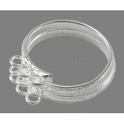 Adjustable Loop Ring Bases, Brass, Silver Color Plated, about 17mm inner diameter(EC543-3S)