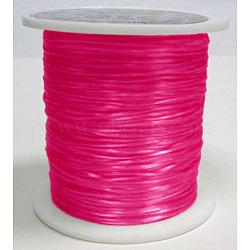 chaîne de cristal élastique plat, fil de perles élastique, pour la fabrication de bracelets élastiques, teints, fuchsia, 0.8 mm, 11 m / rouleau(EW007)