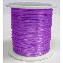 chaîne de cristal élastique plat, fil de perles élastique, pour la fabrication de bracelets élastiques, teints, pourpre, 0.8 mm, 11 m / rouleau(EW010)