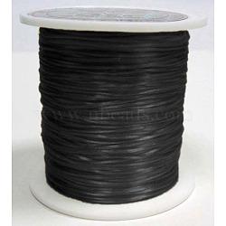 chaîne de cristal élastique plat, fil de perles élastique, pour la fabrication de bracelets élastiques, teints, noir, 0.8 mm, 11 m / rouleau(EW019)
