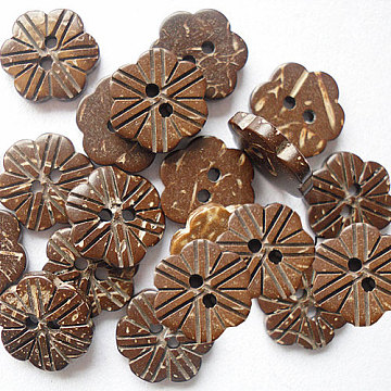 15mm Camel Coconut Button