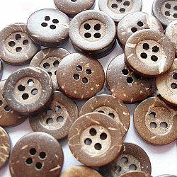 Bouton de couture de base ronde sculpté 4 trous, bouton de noix de coco, burlywood, environ 13 mm de diamètre, environ 100 pcs / sachet (NNA0YXE)