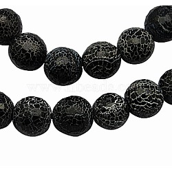 Crackle Agate Beads Strands, Round, Dyed, Grade A, Black, 11.5mm, Hole: 1.2mm; about 33pcs/strand