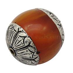 Perles de cire d'abeille, avec en argent sterling bouchons, tambour, antique couleur argenté de métal , chocolat, 26x24mm, Trou: 2mm(G-H1137-3)