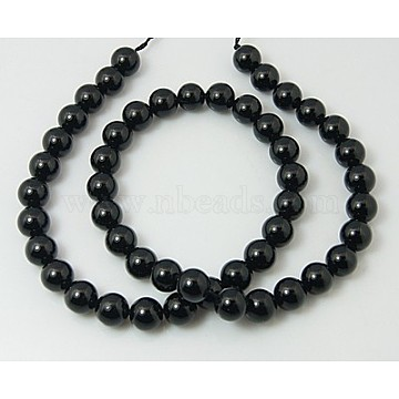 Natural Tourmaline Bead Strands, Round, Black, 10mm, Hole: 1mm; about 40pcs/strand, 15.7inches(G-H1603-10mm)