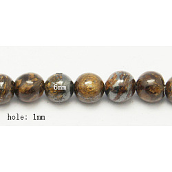 """Chapelets de perles en bronzite naturel, rond, coconutbrown, taille: environ 6mm de diamètre, Trou: 1mm, 60 pcs / chapelet, 15.7""""(G-Q605-24)"""
