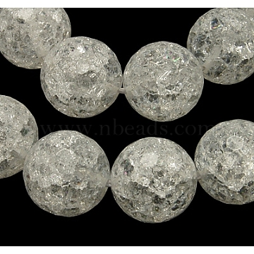 Synthetic Crackle Quartz Beads Strands, 128 Facets, Round, White, 14mm, Hole: 1mm, about 28pcs/strand, 16 inches(G-SF14MM-44)