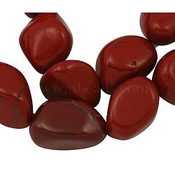 """Perles de pierres gemmes, jaspe rouge, environ 14~17 mm de large, Longueur 16~24mm, trou: 1 mm; environ 22~23 pcs / brin, 15""""(G501-45)"""