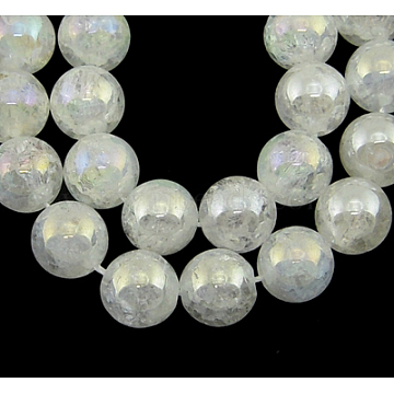 Gemstone Beads Strands, Natural Crackle Quartz, Round, Clear, about 11mm in diameter, hole: 1mm, 36 pcs/strand, 15inches(G860-11MM)