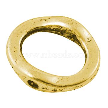 Tibetan Style Alloy Bead Frame, Ring, Antique Golden, Lead Free & Cadmium Free, 15x13x3.5mm, Hole: 1.5mm(GLF10768Y)