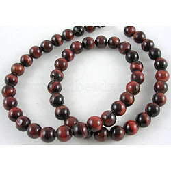 15~16inches Round Gemstone Strand, Red Tiger Eye, Dyed & Heated, 8mm in diameter, hole: 1mm; about 50pcs/strand; 15~16inches/strand