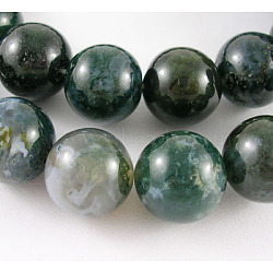 Natural Moss Agate Beads Strands, Round, about 14mm in diameter, Hole: 1mm, about 28pcs/strand, 15.5inches
