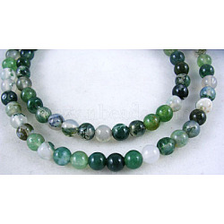 Natural Moss Agate Beads Strands, Round, about 4mm in diameter, hole: about 0.8mm, about  84pcs/strand, 15inches