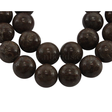 Snowflake Obsidian Gemstone Beads Strands, Natural, Round, Brown, 8mm in diameter, hole: 1mm, about 15~16 inches/strand, about 51pcs/strand(GSR009-1)