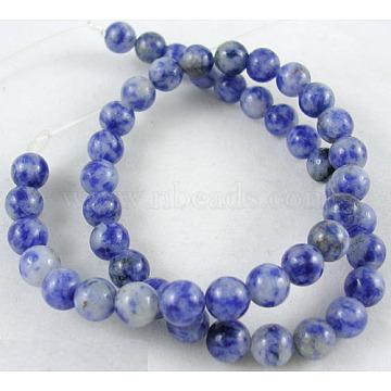 Gemstone Beads, Natural Blue Spot Jasper, Round, CornflowerBlue, 14mm, Hole: 1mm; about 28pcs/strand, 16inches(GSR14mmC036)