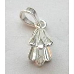 Fermoirs en argent sterling, ice pick & bélières, longueur d'environ 14 mm ,  largeur de 7 mm, Trou: 2.5mm, environ 204 pcs/100 g(H417)