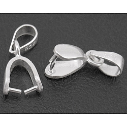 Bails en argent sterling, ice pick & bélières, longueur d'environ 13.5 mm ,  largeur de 6.2 mm, épaisseur de 3mm, Trou: 3mm, environ 260 pcs/100 g(H799)