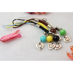 Mobile Straps, with Round Glass Beads, Tibetan Style Beads and Cord Loop with Alloy Findings and Nylon Cord, Mixed Color, 89mm(HJEW-JM00094)