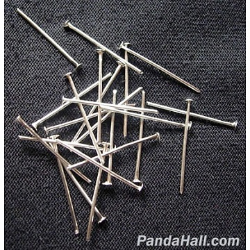 Iron Flat Head Pins, Cadmium Free & Lead Free, Silver Color Plated, 38x0.7mm; about 6600pcs/1000g(HPS3.8cm)