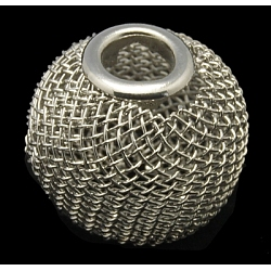 Iron Wire Mesh Beads, DIY Material for Basketball Wives Earrings Making, Rondelle, Platinum Color, Size: about 16mm in diameter, 14mm thick, hole: 5mm(IFIN-16D-P)