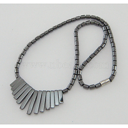 Hematite Jewelry Necklace, With Magnetic Clasps, DarkGray, about 17inches long(IMN096-2)