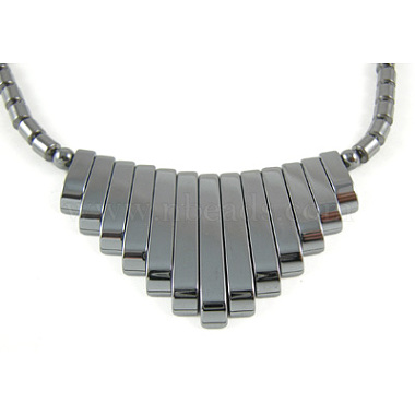 17.5inches Non-Magnetic Synthetic Hematite Necklace with Ship Beads Pendant(IMN006)-2