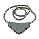 17.5inches Non-Magnetic Synthetic Hematite Necklace with Ship Beads Pendant(IMN006)-1