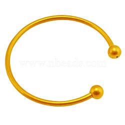 Латунь момент браслет материалы, золотые, размеры : около 62 мм диаметром, толщиной 3 мм , бусины : 8 мм диаметром, Открыто: 22 mm длиной(KK-62D-G)