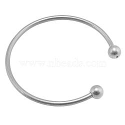 Латунь момент браслет материалы, платина, размеры : около 62 мм диаметром, толщиной 3 мм , бусины : 8 мм диаметром, Открыто: 22 mm длиной(KK-62D-N)