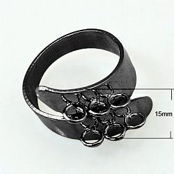 Cuff Brass Ring Shanks, Loop Ring Blank, Nickel Free, Gunmetal, 18mm(KK-B201-B)