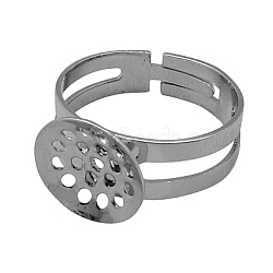 Composants d'anneau en laiton, accessoires composants tamis pour bagues réglable, couleur platine, taille: anneau: environ 18 mm de diamètre intérieur, pendentif: environ 12 mm de diamètre.(KK-C1297)