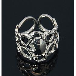 Манжета латунь филигранное кольцо пустая, компоненты площадку кольцо, платиновый цвет, внутренний диаметр: 17 мм, лоток : 8 мм(KK-E053-N)
