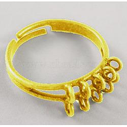 Brass Adjustable Ring Bases, with 10 Loop, Nickel Free, Adjustable, Golden, about 19mm in diameter, 17mm inner diameter(KK-EC156-NFG)