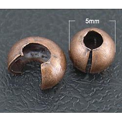 Couvre de perles à écraser en laiton , couleur de cuivre rouge, taille: environ 5mm de diamètre, Trou: 1.5~1.8mm(KK-H291-R)