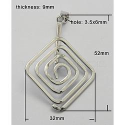 laiton beignet bails, Donuthalter, fit pour pendentifs disque pi fabrication de bijoux, losange, platine, 52x32x9 mm, trou: 3.5x6 mm.(KK-K914-1)