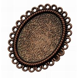 Tiges à anneau en laiton , bases d'anneau en filigrane, création de bagues anciennes , réglable, ovale, couleur de cuivre rouge, taille: anneau: environ 17 mm de diamètre intérieur; plateau ovale: environ 28 mm de large, Longueur 34mm(KK-Q014-R)