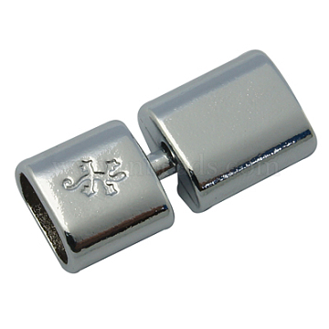Brass Snap Lock Clasps, Platinum Color, about 14mm wide, 32mm long, 8.5mm thick, hole; 6x11mm(KK-32X14-P)