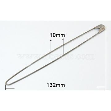 Iron Safety Pins, Platinum, 132x10mm; Pin: 1mm(KK-Q486-N)