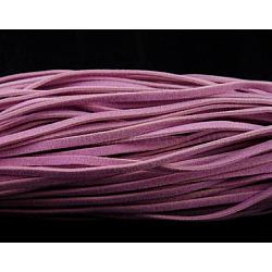 Cordon de laine, rose, Chaque brin: 50 cm de long,  largeur de 2.7 mm, 1 mm d'épaisseur. 400 brins / 200 m(LDW001Y-15)