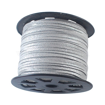 Faux Suede Cords, Faux Suede Lace, Silver, 3mm, 100yards/roll(300 feet/roll)(LW-S013-1)