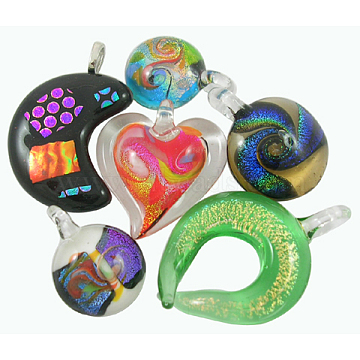 Handmade Dichroic Glass Pendants, Mixed Color, about 15~48mm wide, 30~68mm long, hole: 4~10mm(M014J)